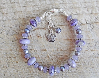Purple Charoite Lepidolite Butterfly Spirit Animal Totem Healing Gemstone Bracelet