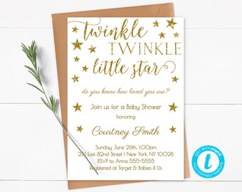 Twinkle Twinkle Little Star Baby Shower Invitation Template, Editable, Gold Glitter, Gender Neutral Invitation, Instant Download - SG1