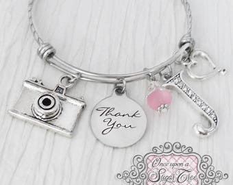 Photographer GIFT,  Bangle Bracelet,Thank you gift for Wedding Photographer, Heart Charm, Personalized Thank you gift, Camera Bracelet Charm