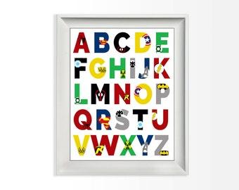 Superhero Alphabet, Superhero Wall Art, Boys Room Decor, Superhero Art Work, Superhero Art Print, Super Hero Nursery, Superhero Nursery