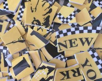 Mosaic Tiles Mix Broken Plate Art Hand Cut Pieces Supply Black Yellow And White Checker Taxi New York 100 big Apple