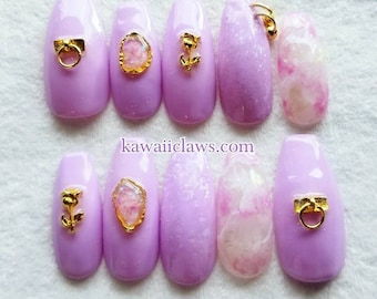Lavender Marble Stone 3D Gel Nail Art w Nail Piercing, Roses, O-ring & Crushed Opal