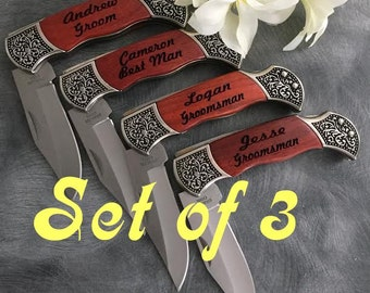 3 Engraved Pocket Knives  / Personalized Groomsman Gift /  Laser Engraved Rosewood Knife / Custom Wedding Gift / Personalized