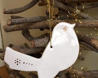 Christmas Ornament White Gold Birds Ceramic Christmas Decoration Gift Luxury Christmas Pottery Ornament