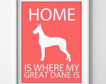 Great dane custom name personalized wall art print for housewarming gift