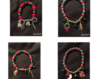 Christmas themed beaded charm bracelets