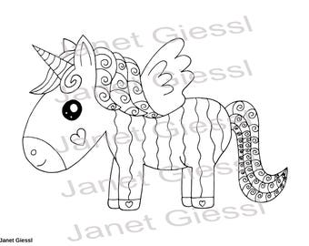 Cute Unicorn Single Coloring Page