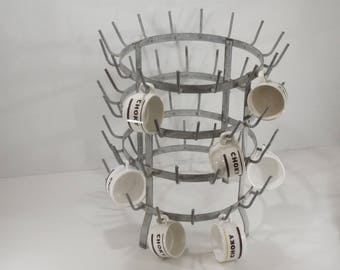 "Authentic french Vintage Bottle Drying Rack ""Hedgehog"" Mug Holder, Mid Century french Country Kitchen"