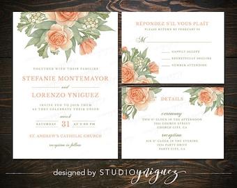 Rustic Floral Wedding Printable Invitation Suite, Peach Sage Wedding Printable Invitation Set, Digital Wedding Invitation Suite