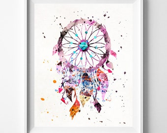 Dream Catcher Print, Dream Catcher Watercolor, Baby Room Decor, Nursery Wall Art, Baby Shower Gift, Children Room, Fathers Day Gift