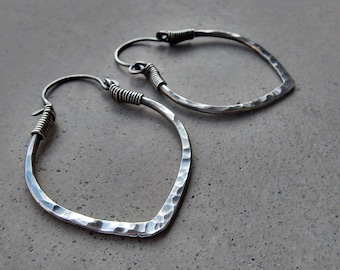 Lotus Petal Hoop Earrings in Sterling Silver, Medium Size, Light Weight, Hip, Ethnic, Yoga Inspired, Metalsmithed Design