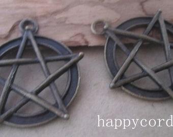 10pcs of  Antique bronze pentagram  pendant charm 27mm