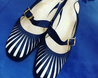 Vintage Italian Slingback Block Heels 60s