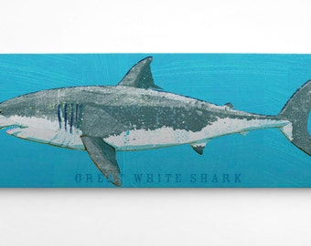 Shark Decor, Great White Shark Art Block, Gifts for Boyfriend Gifts, Great White Shark Print, Fish Art, Shark Bedroom Decor, Shark Nursery