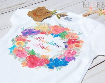 Rainbow Baby Onesie ® Boho Wreath Rainbow Baby Shower Gift, Miracle Baby Bodysuit, Pregnancy Announcement Cute Baby Clothes Take Home Outfit