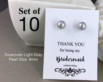 Set of 10 Bridesmaid Earrings Stud Earrings Flower Gir Junior Bridesmaid Sterling Silver Earrings Mother of Groom Mother of Bride