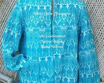 Vintage Guatemalan Jacket Hand Woven ~ 1980 Embroidered Jacket ~ Medium ~ Native Indian Made ~ Southwest Tribal Fashion ~ Blue Jacket