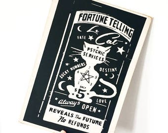 Le Cat Fortune Wooden Plaque