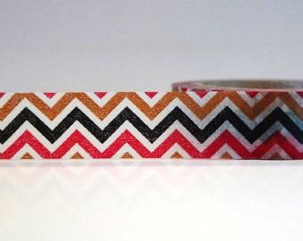 Washi Tape CHEVRON Black Brown Red (Chugoku)