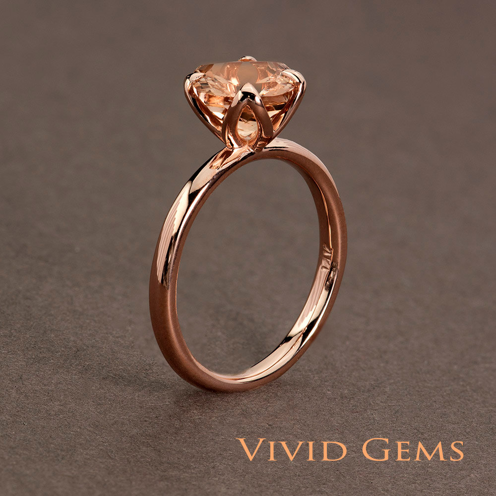 Peach Pink Morganite Rose Gold Ring 2 carat Cushion Cut