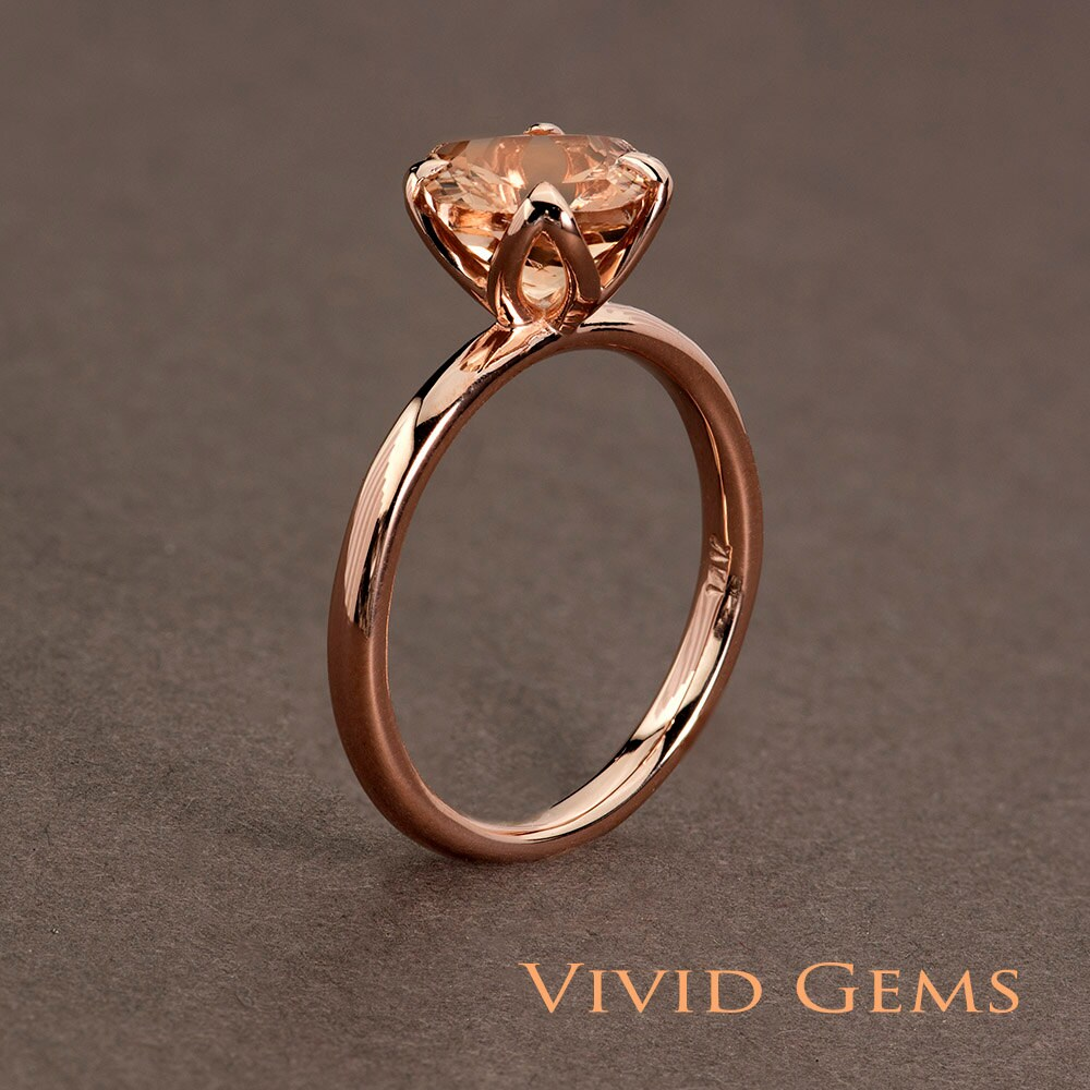 Peach Pink Morganite Rose Gold Ring 2 carat Cushion Cut