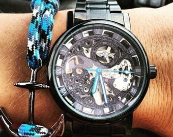 Leather Watch-Steampunk Watch-Mechanical Watch-Men Watch-Women Watch-Skeleton Watch-Brown Leather Watch-Wrist Watch-Mens Watch Leather-Gifts