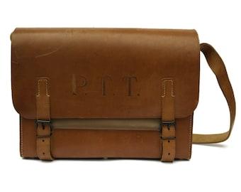 Large Vintage French Postmans Bag. Brown Leather Messenger Bag.
