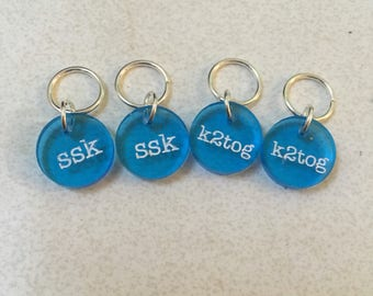 Stitch Markers for Knitting - Decrease - ssk k2tog - Acrylic