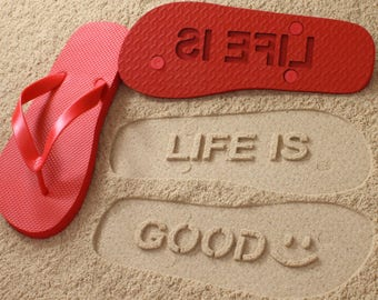 Inspirational Quote Sand Imprint Flip Flops *check size chart, see 3rd product photo*