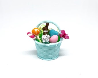 1/12 Scale Dollhouse Easter Basket with Chocolate Rabbit, Candy, Easter Eggs