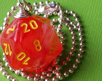 NEW STYLE - Dungeons & Dragons - D20 Die Necklace - Ghostly Glow Orange/Yellow