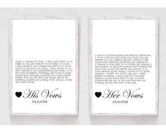 Custom Printable Wedding Vows Print - typewriter design