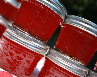 Jam party favor, 12 4oz sample jars of our homemade strawberry pineapple jam wedding or shower favor