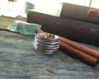 Hand stamped four band sterling silver spinner ring mothers ring