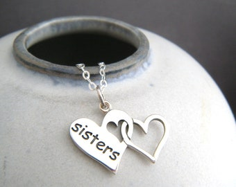 sterling silver sisters on hearts necklace intertwined family word pendant sibling love small simple best friend everyday jewelry gift