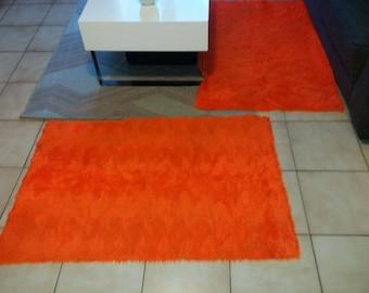 VINTAGE bedside rug Orange X 2
