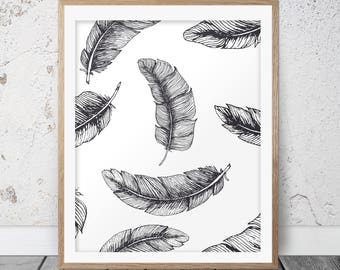 Feather Art Print, Feather Decor, Feather Artwork, Bohemian Art, Feather Illustration, Black and White Art, Feather Painting, Feather, 131
