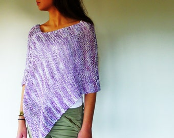 Knit poncho in lilac and white. Women's summer poncho. Cotton beach cover up. Hand knitted poncho. Gift idea for her