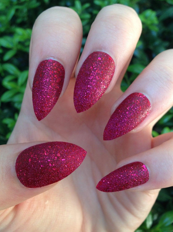 fake nails stiletto nails red nails red glitter press on