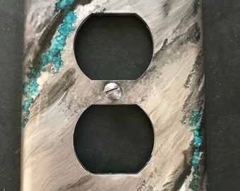 Silver Turquoise Black - Southwest - Outlet Switch Plate - Handpainted