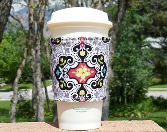 FREE SHIPPING UPGRADE with minimum -  Fabric coffee cozy / cup sleeve / coffee sleeve / cup cozy / Gothic Black White Yellow Flower