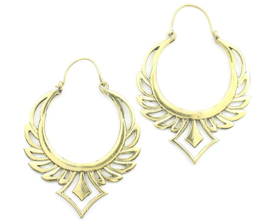 Rising Phoenix Earrings, Ornate Ethnic Earrings, Tribal Brass Earrings, Festival Earrings, Gypsy Earrings, Hoop Earrings