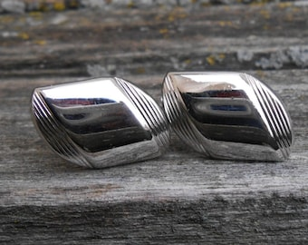 Vintage Abstract Silver Cuff Links. 1990s. Gift for Men, Dad, Grad, Groom, Groomsmen, Husband, Brother, Son