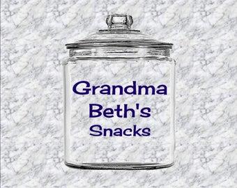 Personalized Glass Cookie Jar - Grandma's Snacks