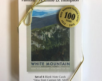 Set of 4 Blank Note Cards, White Mountain National Forest, View from Cannon Mountain