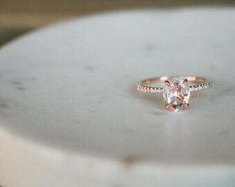 Oval Morganite Ring, Diamond Rose Gold Morganite Engagement Ring, Rose Gold Morganite Ring, Engagement Ring, Morganite