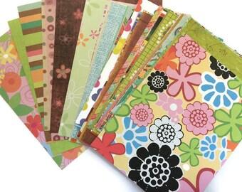 "Assorted Scrapbook Paper Pieces Size 4"" x 5.25"" Scrap Pack of 50"