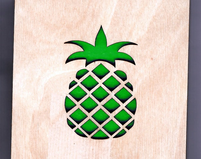 4 Pineapple Coasters wooden laser cut natural eco-friendly Waterproof plywood birch and Felt