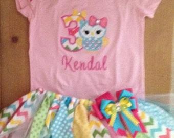Bright Owl Birthday Tutu Outfit