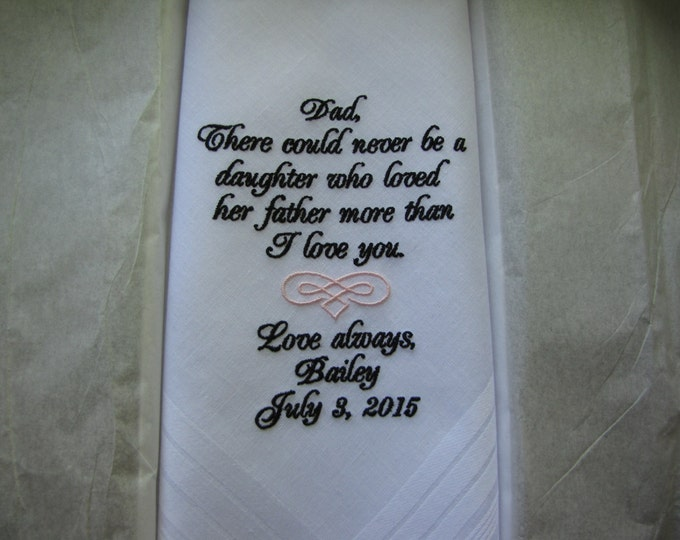 Father of the Bride Personalized Wedding Handkerchief, Custom Handkerchiefs, Embroidered handkerchiefs, Custom Hankys